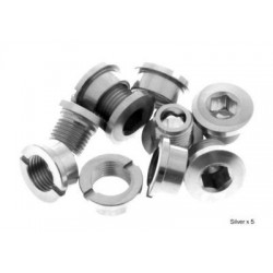 Short aluminium chainring bolts silver color