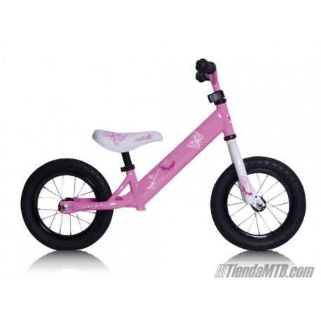 """Bicicleta aprendizaje Rebel Kidz 12,5"""" Air Acero, mariposa rosa"""