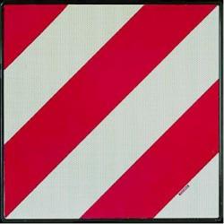 Placa V20 homologada para portabicicletas lineas rojas y blancas