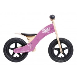 "Bici aprendizaje Rebel Kidz 12"" Madera, mariposa rosa"
