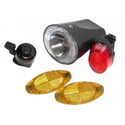 Set accesorios luz a pilas delantera+trasera+2 reflectantes+timbre