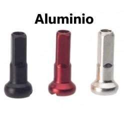 8 Cabecillas de radios de aluminio rojas, plata o negras