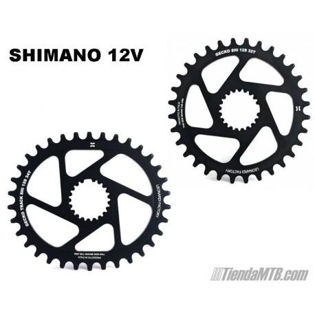 Monoplato para el nuevo Shimano XTR, XT y SLX de 12V Leonardi Gecko Redondo u Ovalado